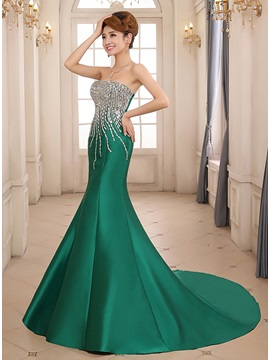 Amazing Mermaid Strapless Beading Chapel Train Lace-up Long Evening Dress & Evening Dresses online