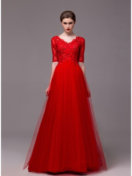 A-Line Half Sleeves Appliques Sequins Floor-Length Evening Dress & Evening Dresses for less