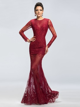 Sensual Lace Jewel Neckline Trumpet Long Sleeves Long Evening Dress Designed & discount Evening Dresses