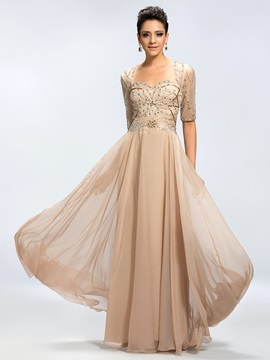 A-line Sequins Beading Backless Half Sleeves Long Evening Dress & Evening Dresses under 300