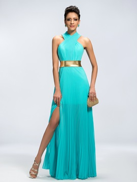 Trendy A-Line Halter Split-Front Long Evening Dress & Evening Dresses under 100