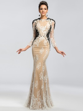 Eye-catching Backless Lace Appliques Backless Mermaid Long Evening Dress & modest Evening Dresses
