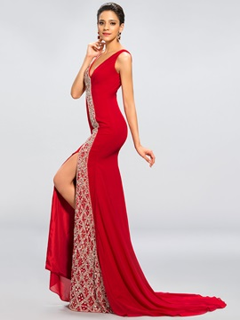 V-Neck Trumpet Split-Front Beading Court Train Evening/Pageant Dress & Evening Dresses from china