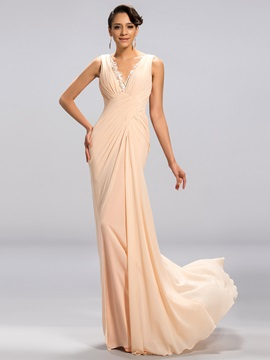 Deep V-Neck Ruched Appliques Long Evening Dress Designed & Evening Dresses under 100