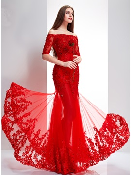 Delicate Off-the-Shoulder Half Sleeves Appliques Lace-up Long Evening Dress With Jacket/Shawl & Evening Dresses under 500