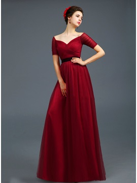 Consice Off-the-Shoulder Short Sleeves Lace-up Floor-Length Evening Dress & Evening Dresses online