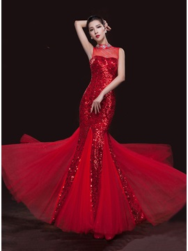 Shining High Neckline Mermaid Beading Sequins Long Evening Dress & vintage Evening Dresses