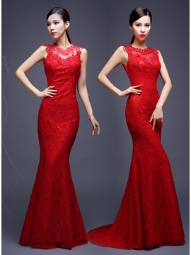 Delicate Mermaid Lace Sequins Sweep Train Lace-up Long Evening Dress & Evening Dresses 2012