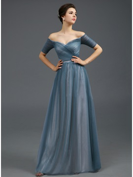 Off-the-Shoulder Ruched Beaded Sash A-Line Long Evening Dress & amazing Evening Dresses
