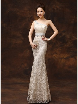 One-Shoulder Sheath Beading Lace Zipper-up Long Evening Dress & affordable Evening Dresses