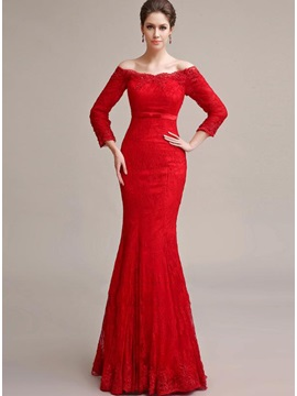 Elegant Mermaid 3/4-Length Sleeves Off-the-Shoulder Lace Appliques Long Evening Dress & Evening Dresses 2012