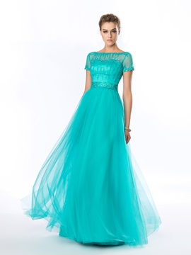 A-Line Bateau Beading Sequins Short Sleeves Long Evening Dress & quality Evening Dresses
