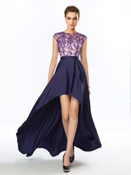 Dazzling Bateau Neck Appliques A-Line Asymmetrical Evening Dress & attractive Evening Dresses