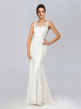 Elegant Mermaid Bateau Neckline Lace Beading Tulle Back Long Evening Dress & Evening Dresses under 500