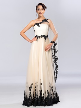 Timeless One-Shoulder Appliques Long Sleeve Long Evening Dress & Evening Dresses on sale