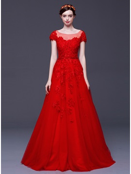 Dramatic Tulle Neckline Lace Appliques Sequins Short Sleeves Long Evening Dress & simple Evening Dresses