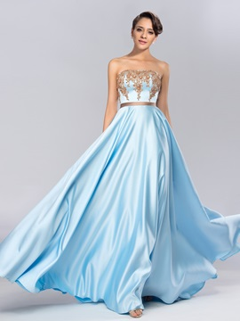 Strapless Appliques Beading Sashes Long Evening Dress & quality Evening Dresses