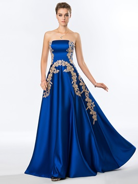 Faddish A-Line Strapless Appliques Long Evening Dress Designed & Evening Dresses on sale