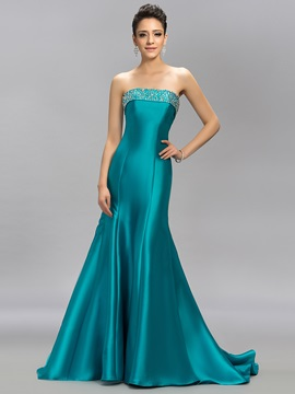 Graceul Strapless Trumpet Beading Lace-up Sweep Train Long Evening Dress & colorful Evening Dresses