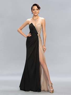 Classy Sweetheart Ruched Contrast Color Long Evening Dress Designed & petite Evening Dresses
