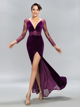 Great Deep V-Neck Lace Split-Front Long Evening Dress Designed & Evening Dresses from china