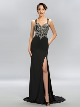 Straps Split-Front Beading Sweep Train Long Evening Dress & Evening Dresses from china