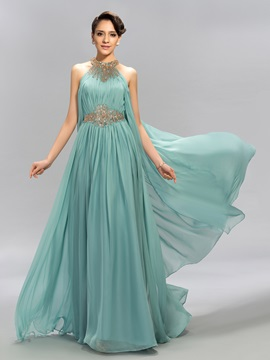 Eye-catching Jewel Neck Beaded Ruffles Long Evening Dress Designed & Evening Dresses 2012