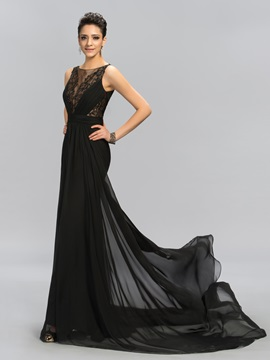 Super Scoop Neck Embroidery Beading A-Line Long Evening Dress Designed & fairytale Evening Dresses