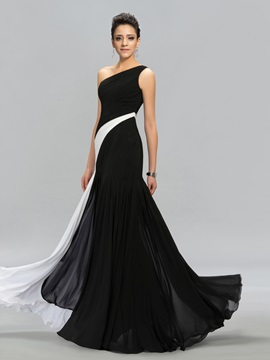 Classical Contrast Color One-Shoulder Long Evening Dress Designed & inexpensive Evening Dresses