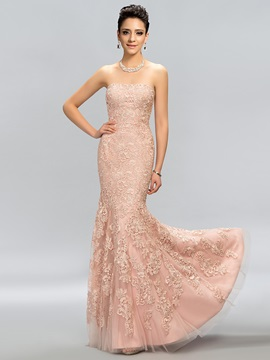 Timeless Strapless Lace Long Evening Dress Designed & attractive Evening Dresses