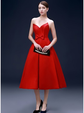 Modern Sweetheart Bowknot A-Line Tea-Length Evening Dress & Evening Dresses from china
