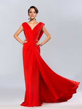 Ladylike V-Neck Draped Ruffles Backless Long Evening Dress & formal Evening Dresses