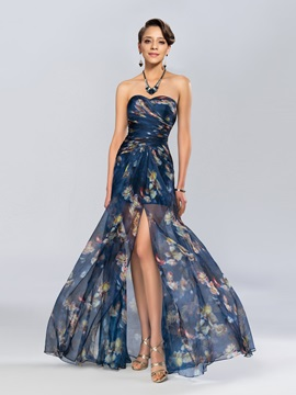 Eye-catching Column Sweetheart Printing Split-Front Long Evening Dress & Evening Dresses for sale