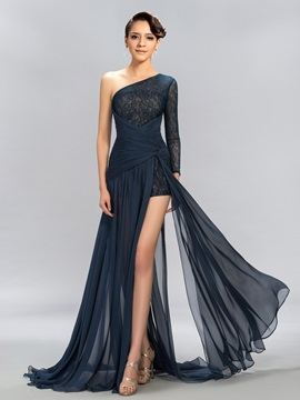 Timeless One Shoulder Long Sleeve Lace Split Front Evening Dress Designed & Evening Dresses on sale