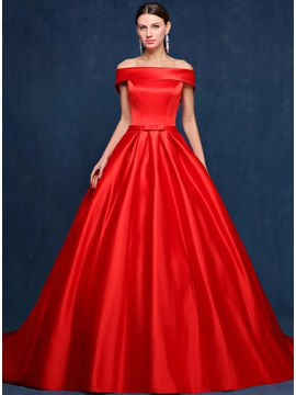 Dazzling A-Line Off-the-Shoulder Pockets Chapel Train Long Evening Dress & fashion Evening Dresses