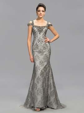 Elegant Square Neck Beading Sequins Long Evening Dress Designed & Evening Dresses under 100