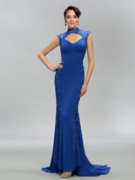 Dazzling High Neck Trumpet Lace Appliques Beading Backless Evening Dress & discount Evening Dresses