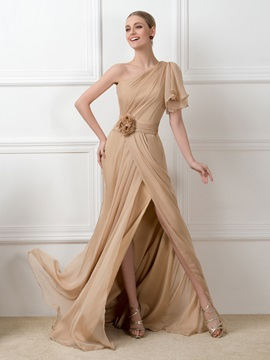 Dazzling One-Shoulder Split-front Chiffon Long Champagne Long Evening Dress & vintage style Evening Dresses