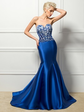 Bright Sweetheart Beading Pearls Mermaid Long Evening Dress & inexpensive Evening Dresses