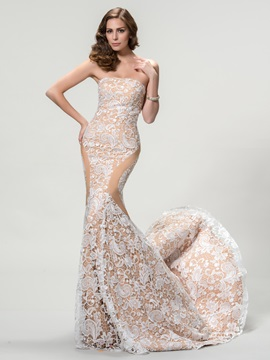 Dazzling Strapless Mermaid Lace Court Train Long Evening Dress Designed & Evening Dresses under 500