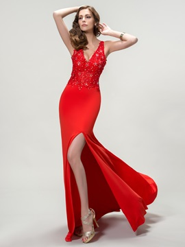 Unique V-Neck Split-Front Appliques Long Evening Dress & modest Evening Dresses