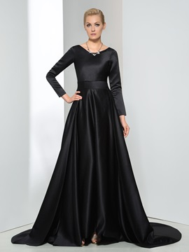 Vintage A-Line Scoop Neck Sashes Long Sleeve Long Evening Dress & casual Evening Dresses