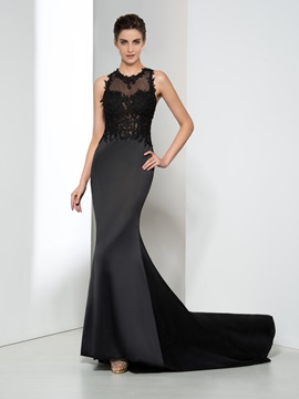Sexy Jewel Neck Appliques Hollow Black Evening Dress & Evening Dresses online
