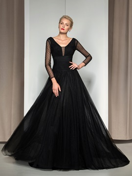 Timeless V-Neck Long Sleeves Beaded Sequined Long Black Evening Dress & Evening Dresses on sale