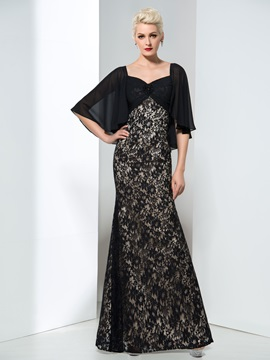 Elegant Sheath Sleeves Beaded Long Lace Evening Dress & Evening Dresses for less