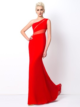 Modest Sheath One-Shoulder Sweep Train Long Evening Dress Designed & Evening Dresses under 500