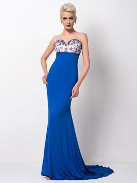 Dazzling Tulle Neck Sheath Beading Court Train Long Evening Dress & petite Evening Dresses