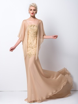Trumpet Square Neck Embroidery Court Train Long Evening Dress & casual Evening Dresses