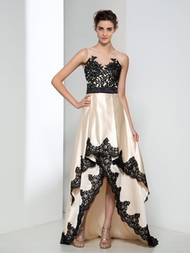 Amazing Sheer Neck Appliques Tiered High Low Evening Dress & formal Evening Dresses
