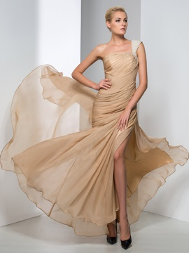 Fashion One-Shoulder Sheath Pearls Pleats Split-Front Long Evening Dress & Evening Dresses under 300